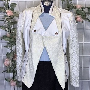 STAR STYLE WHITE FAUX LEATHER CREAM LACE JACKET S